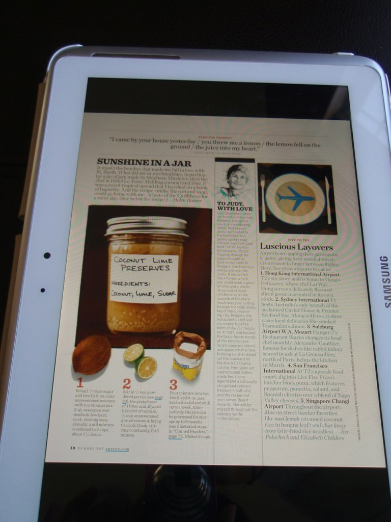 Saveur page on tablet
